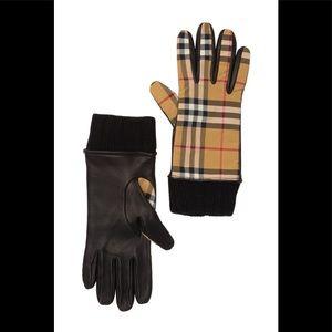 Vintage check  & leather gloves